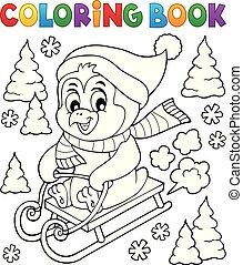 coloração, 1, tema, livro, sledging, pingüim
