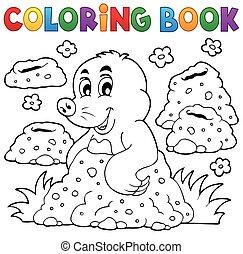 coloração, 1, tema, livro, toupeira, feliz