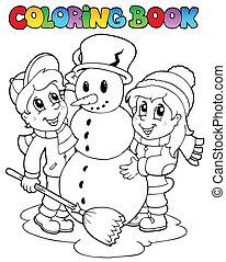 coloração, 2, cena, livro, inverno