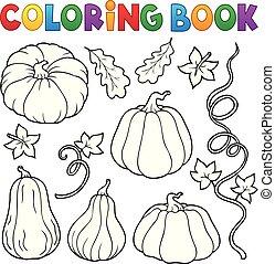 coloração, abóboras, cobrança, livro, 1