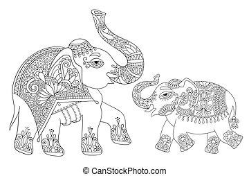 coloração, adultos, desenho, bo, indianas, étnico, linha, elefante, original
