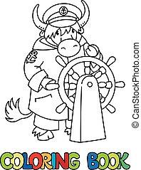coloração, alfabeto, book., abc, yak, y, yachtsman