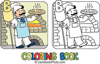 coloração, alfabeto, padeiro, profissão, book., b, abc.