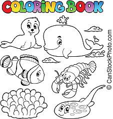 coloração, animais, 3, livro, vário, mar
