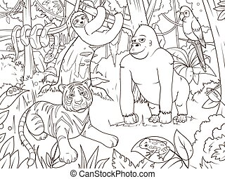 coloração, animais, caricatura, vetorial, selva, livro