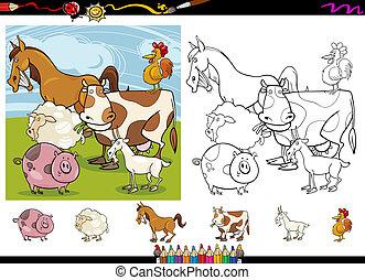 coloração, animais, fazenda, caricatura, jogo, página