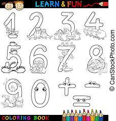 coloração, animais, números, caricatura