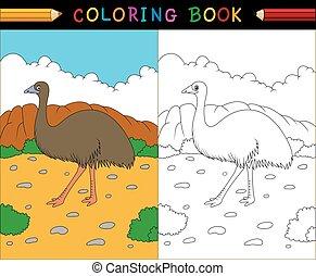 coloração, animais, série, livro, emu, australiano, caricatura