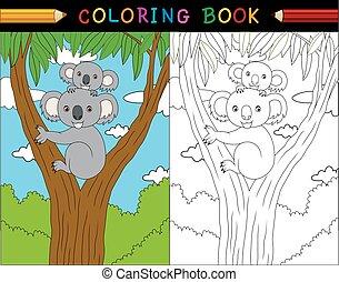 coloração, animais, série, livro, koala, australiano, caricatura