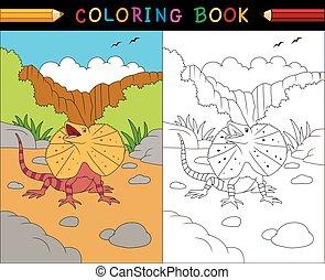 coloração, animais, série, livro, lagarto, frilled, australiano, caricatura