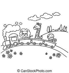 coloração, animal, vetorial, trem