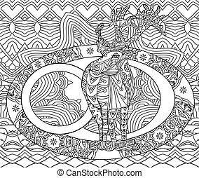 coloração, arte, card., livro, linha, natal, adultos