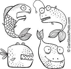 coloração, arte, peixe, linha, livro, pretas, caráteres, divertimento, branca, caricatura