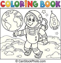coloração, astronauta, tema, livro, 2
