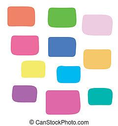 coloração, blocos, fundo, quadrado