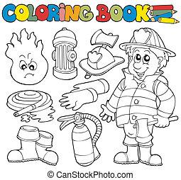 coloração, bombeiro, livro, cobrança