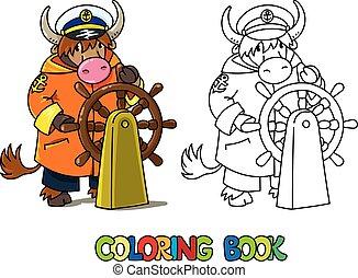coloração, book., yachtsman, abc, alfabeto, yak, y
