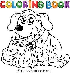 coloração, cão, schoolbag, 1, tema, livro
