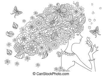 coloração, cabelo, livro, gracioso, menina, flores, seu