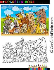 coloração, cachorros, livro, caricatura, ou, página