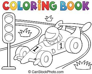 coloração, car, 1, tema, livro, correndo