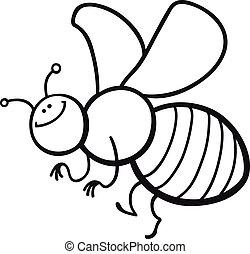 coloração, caricatura, abelha, página