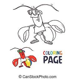 coloração, caricatura, carangueijo, página