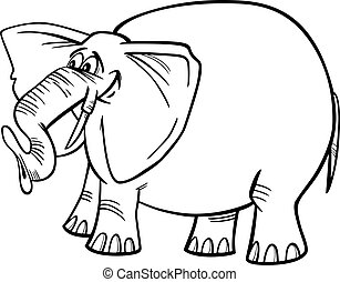 coloração, caricatura, ilustração, elefante