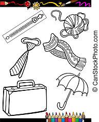 coloração, caricatura, objetos, página