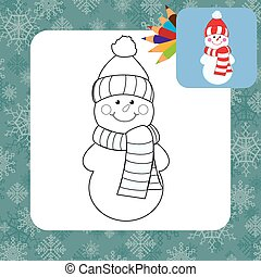 coloração, caricatura, página, snowman.