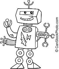 coloração, caricatura, robô, página