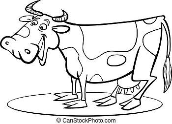 coloração, caricatura, vaca, página