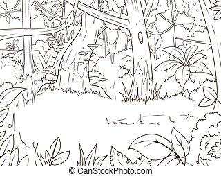 coloração, caricatura, vetorial, floresta, livro, selva