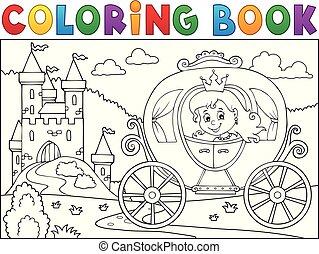 coloração, carruagem, livro, tema, 2, princesa