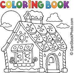 coloração, casa, 1, tema, livro, gingerbread