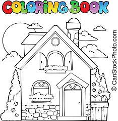 coloração, casa, imagem, 1, tema, livro