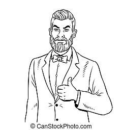 coloração, cima, vetorial, polegares, barba, livro, homem