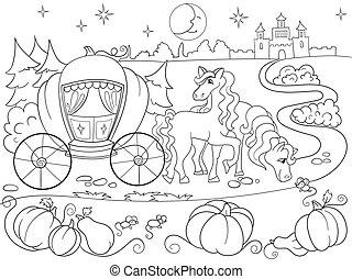 coloração, cinderela, ilustração, crianças, conto, livro, vetorial, fada, caricatura
