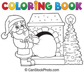 coloração, claus, tema, livro, santa, 9