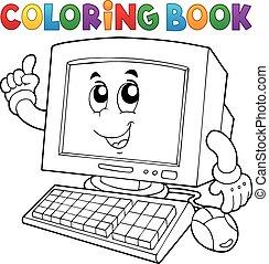 coloração, computador, livro