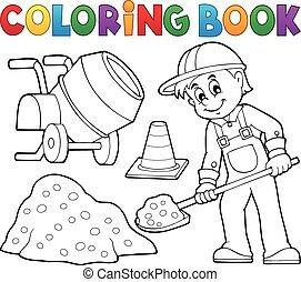 coloração, construção, 2, trabalhador, livro