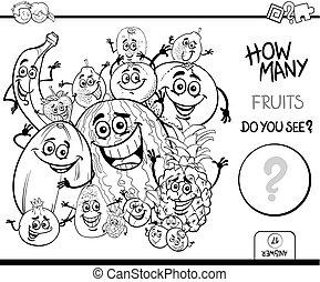 coloração, contagem, livro, frutas