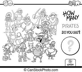 coloração, contagem, piratas, página, atividade