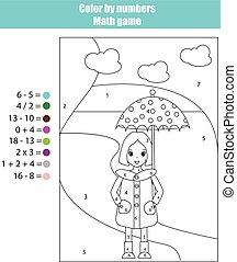 coloração, cor, girl., jogo, números, página, matemática