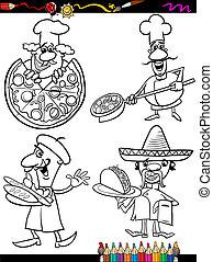 coloração, cozinheiros, caricatura, jogo, cozinheiro, livro