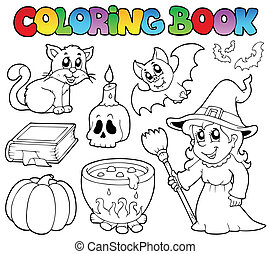 coloração, dia das bruxas, livro, cobrança