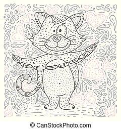 coloração, doodle, página, vetorial, animal., caricatura
