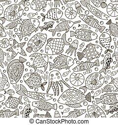 coloração, doodle, peixe, cobrança, oceânicos, livro