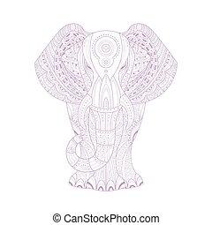 coloração, doodle, zen, livro, stylised, elefante, página