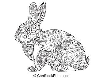 coloração, easter., vindima, ilustração, mão, rabbit., vetorial, doodle, desenhado, coelhinho, página